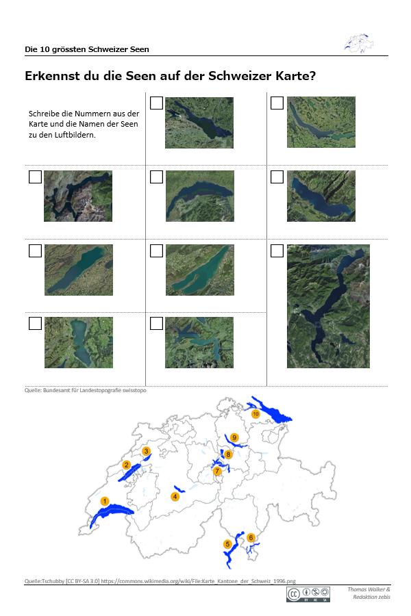 Preview image for LOM object Die 10 grössten Schweizer Seen: Bandolino und Arbeitsblatt