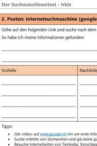 Preview image for LOM object Suchen im Internet (Vergleich von 4 Internetquellen bei der Suche nach Informationen über den Irbis)