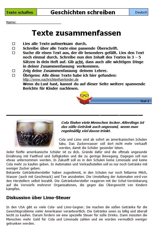 Preview image for LOM object Texte nacherzählen und zusammenfassen