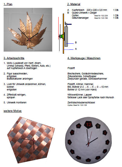 Preview image for LOM object Eine Uhr mit Kupferzifferblatt