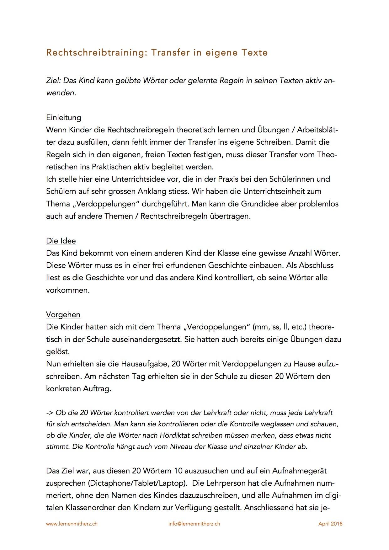 Preview image for LOM object Unterrichtseinheit Rechtschreibung und freies Texte schreiben