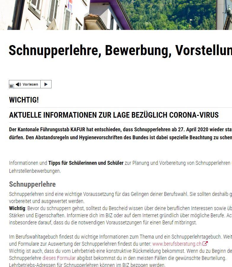 Preview image for LOM object Formulare Schnupperlehre, Bewerbung, Vorstellung (Kanton Uri)