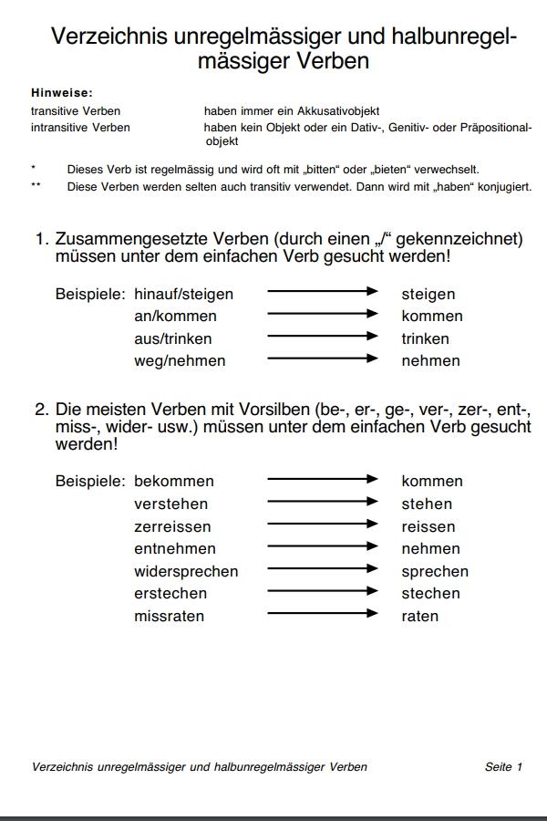 Preview image for LOM object Unregelmässige Verben