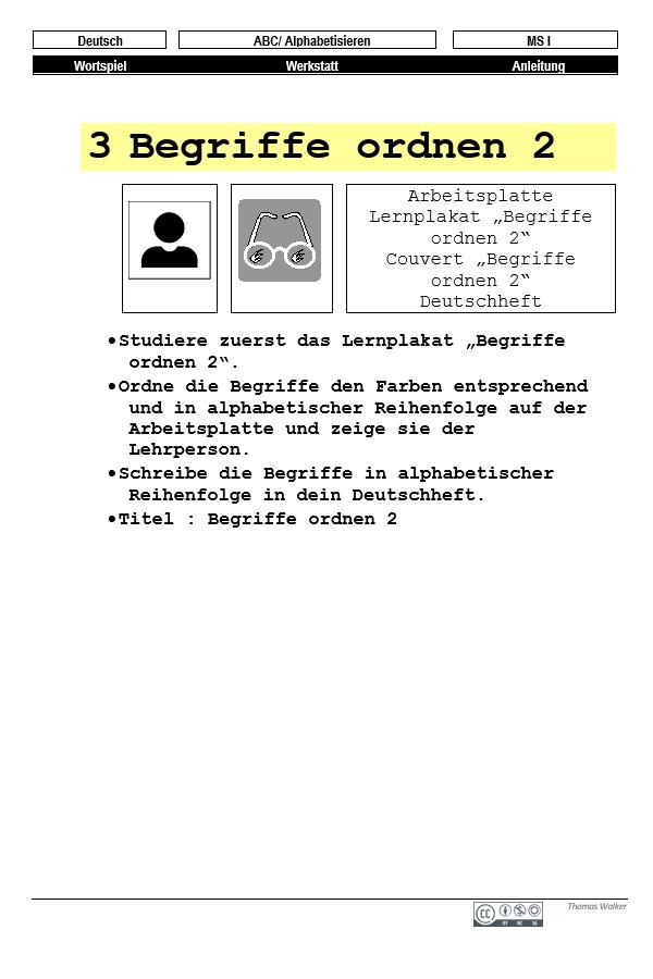 Preview image for LOM object Werkstatt: Wörter nach dem ABC ordnen