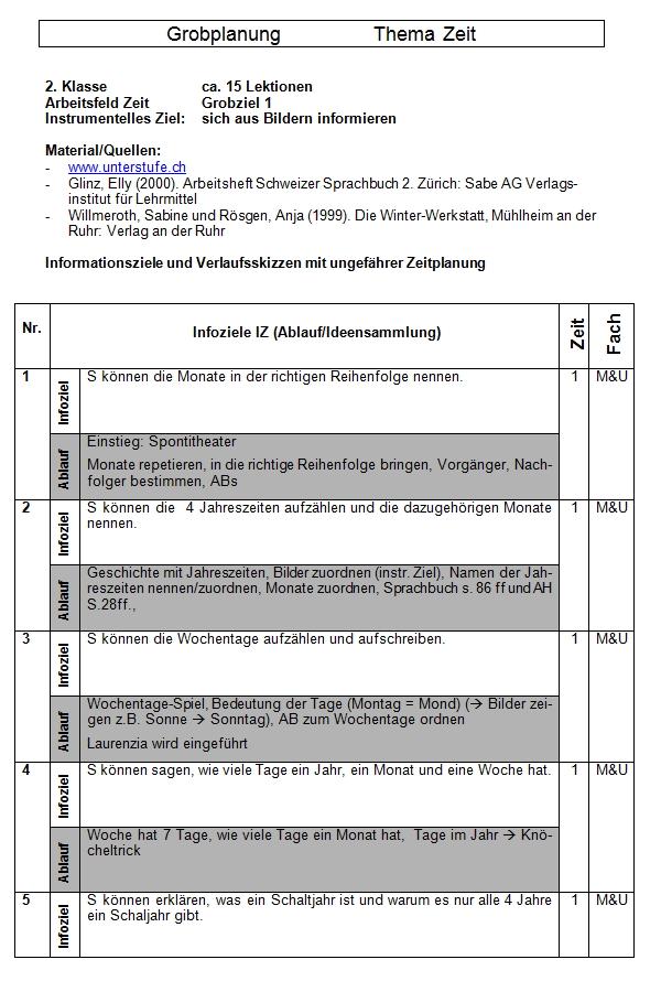 Preview image for LOM object Unterrichtseinheit Zeit